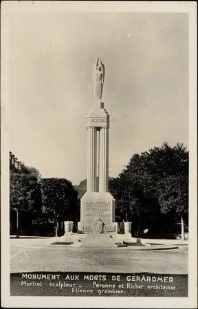 Monument aux Morts de Gérardmer, Martial sculpteur, Peronne et Richer arch…