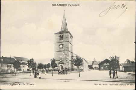Granges (Vosges), L'Église et la Place