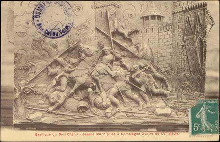 Basilique du Bois Chenu, Jeanne d'Arc prise à Compiègne (Ivoire du Xve siè…
