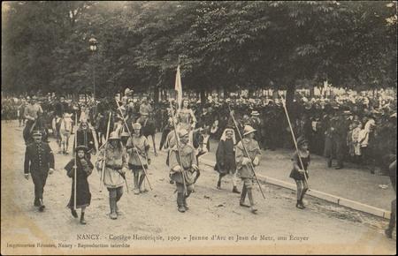 Nancy, Cortège historique, 1909, Jeanne d'Arc et Jean de Metz, son Ecuyer