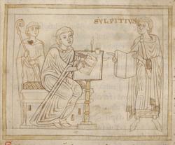 Richer écrivant l'histoire de Saint-Martin