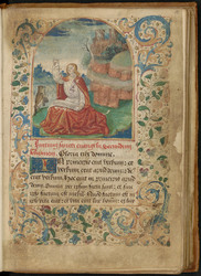 Saint Jean écrivant et  bordure décorée