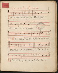 """[Recueil de morceaux de plain-chant] : """"Verset des Apotres, in ominem terr…"""