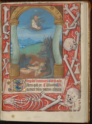Délivrance d'une âme et bordure décorée d'ossements