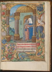 La Rencontre d'Anne et Joachim à la Porte dorée et bordure décorée