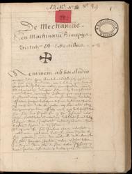 De Mechanicis, seu machinarum principiis, virtute et effectibus