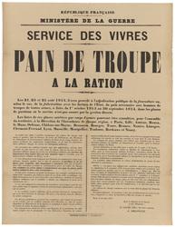 République française. Ministère de la Guerre. Service des vivres. Pain de …