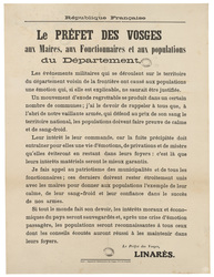 République française. Le préfet des Vosges aux Maires, aux fonctionnaires …