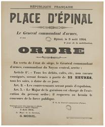 Place d'Epinal. Le Général commandant d'armes, Epinal, le 3 août 1914. 2e …