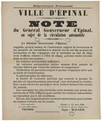 République française. Ville d'Epinal. Note du gouverneur d'Epinal, au suje…