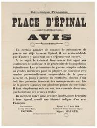 République française. Place d'Epinal. Avis. Un certain nombre de convois d…