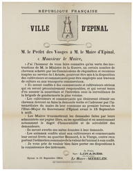 République française. Ville d'Epinal. M. le Préfet des Vosges à M. le Mair…