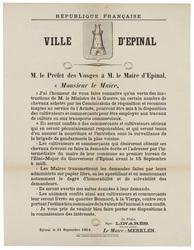 République française. Ville d'Epinal. M. le Préfet des Vosges à M. le Mair…