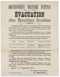 Gouvernement militaire d'Epinal. Evacuation des bouches inutiles... Epinal…