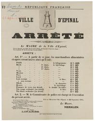 République française. Ville d'Epinal. Arrêté... les marchandises alimentai…