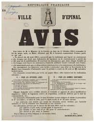 République française. Ville d'Epinal. Avis... Le décret du 16 août 1914 a …