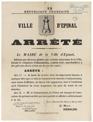 République française. Ville d'Epinal. Arrêté... certains négociants de la …