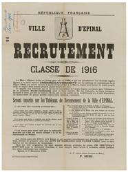 République française. Ville d'Epinal. Recrutement. Classe de 1916... les j…
