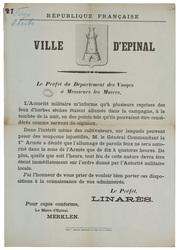 République française. Ville d'Epinal. Le Préfet du Département des Vosges …