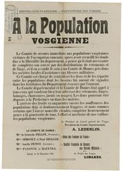 République française. Préfecture des Vosges. A la population vosgienne. Le…