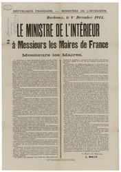 République française. Ministère de l'Intérieur. Bordeaux, le 1er Décembre …