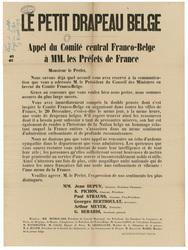 Le petit drapeau belge. Appel du Comité central Franco-Belge à MM. les Pré…