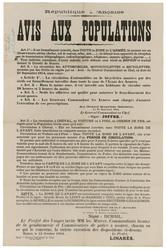 République française. Avis aux populations.... Il est formellement interdi…
