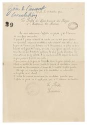 [Lettre datée du 17 Octobre 1914 précisant et accompagnant l'affiche sur l…
