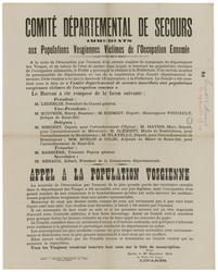Comité départemental de secours immédiats aux populations vosgiennes victi…