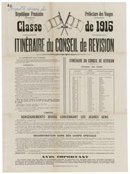 République française. Préfecture des Vosges. Classe de 1915. Itinéraire du…