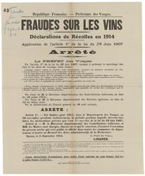 République française. Préfecture des Vosges. Fraudes sur les vins. Déclara…