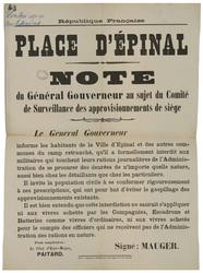 République française. Place d'Epinal. Note du Général Gouverneur au sujet …