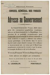 République française. Conseil Général des Vosges. Adresse au gouvernement.…
