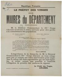 République française. Le préfet des Vosges aux maires du département. M. l…