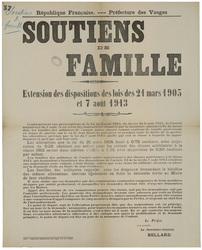 République française. Préfecture des Vosges. Soutiens de famille. Extensio…