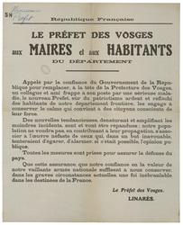 République française. Le préfet des Vosges aux maires et aux habitants du …