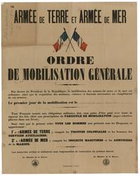 Armée de Terre et Armée de Mer. Ordre de mobilisation générale... dimanche…