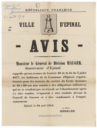 République française. Ville d'Epinal. Avis. Monsieur le Général de Divisio…