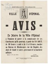 République française. Ville d'Epinal. Avis. Le Maire de la Ville d'Epinal …