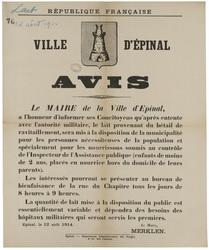 République française. Ville d'Epinal. Avis... le lait provenant du bétail …