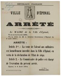 République française. Ville d'Epinal. Arrêté. Le Maire de la Ville d'Epina…
