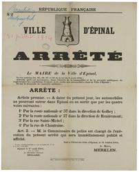 République française. Ville d'Epinal. Arrêté... Article premier : A dater …