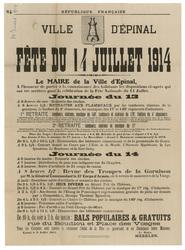 République française. Ville d'Epinal. Fête du 14 juillet 1914. Le Maire de…