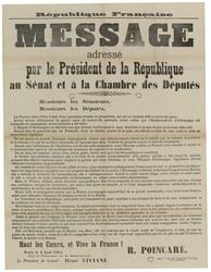 République française. Message adressé par le Président de la République au…