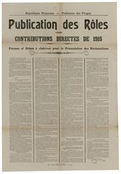 République française. Préfecture des Vosges. Publication des rôles des con…