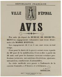 République française. Ville d'Epinal. Avis. Par suite du départ du bureau …