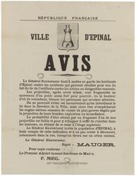 République française. Ville d'Epinal. Avis. Le Général Gouverneur invite l…