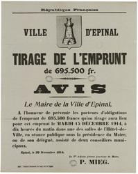 République française. Ville d'Epinal. Tirage de l'emprunt de 695.500 fr. A…