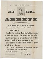 République française. Ville d'Epinal. Arrêté... les habitants devront, par…