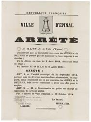 République française. Ville d'Epinal., Arrêté... L'arrêté municipal du 23 …